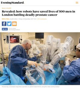 Evening Standard article - Ross Lydall - Retzius-sparing robotic radical prostatectomy