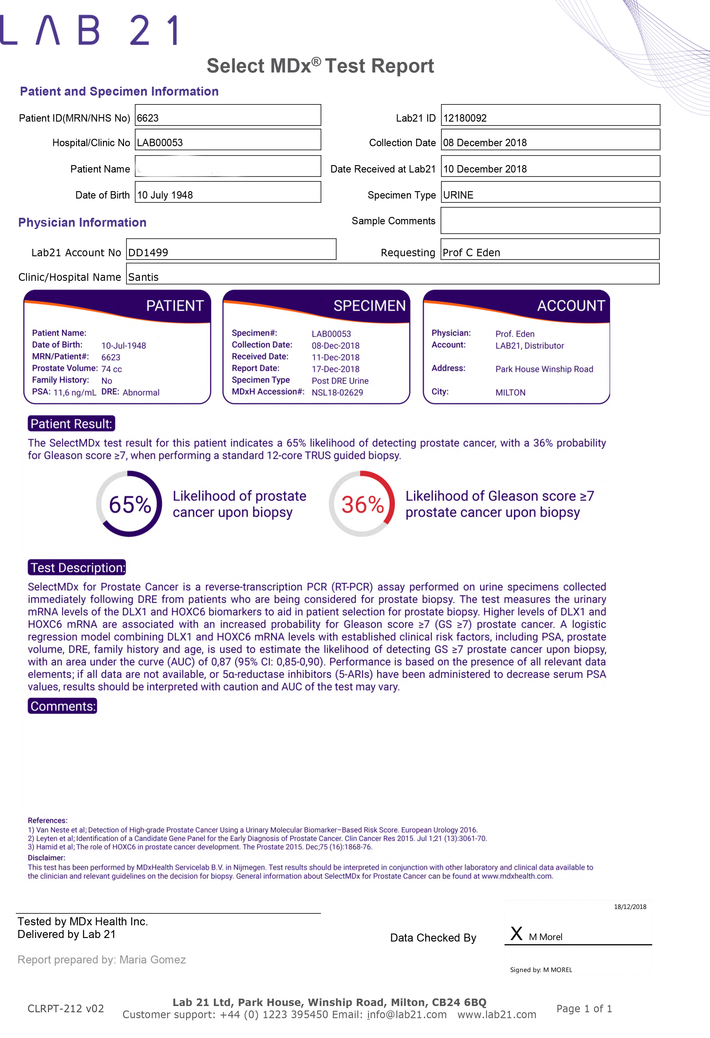 SelectMDX test report - positive for cancer