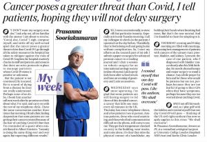 Prasanna Sooriakumaran explains how cancer is more important than COVID